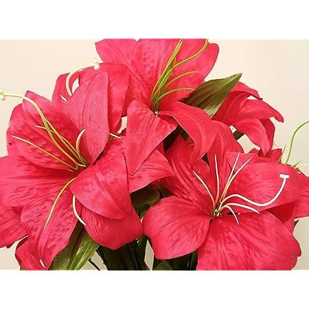"PINK Tiger Lily Bush Satin Artificial Flowers 19/"" Bouquet 11-8225PK"