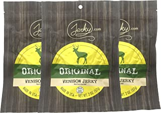 Jerky.com's Original Venison Jerky, Bulk 3 Pack, Best Wild Game Deer Jerky, 13g of Protein, All-Natural Keto Diet Snack, No Added Preservatives, 5.75oz Total