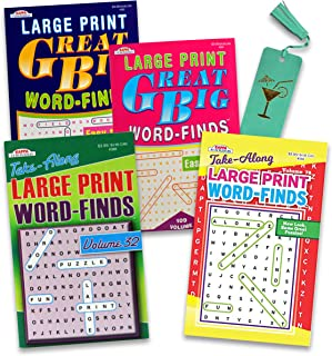 Word Find Puzzle Books for Adults Seniors Bundle - 4 Assorted Large Print Word Search Books with Bonus Leather Bookmark wi...