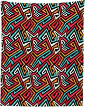 Lunarable Tribal Tapestry Twin Size, Funky Groovy Grunge Graffiti Style Avant Garde, Wall Hanging Bedspread Bed Cover Wall Decor, 68