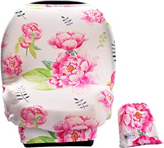 Baby Car Seat Cover Canopy-Multi-Use Stretchy Cover-Shopping Cart, Nursing Breastfeeding Cover, Infinity Scarf- Newborn Registry Baby Shower Gift (Pink Peony)