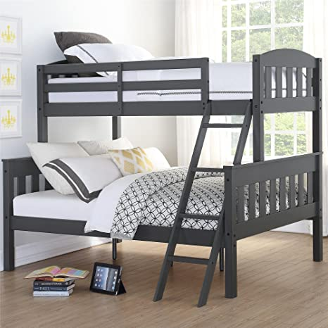 Amazon Com Dorel Living Airlie Solid Wood Bunk Beds Twin Over Full With Ladder And Guard Rail Slate Gray Furniture Decor