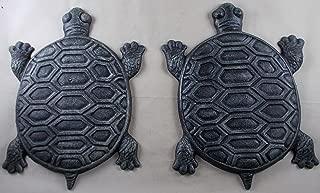 Set of 2 Iron Verdigris Garden Turtle Stepping Stone