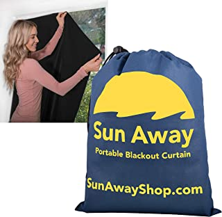 SUN AWAY Portable Blackout Window Curtain with Suction Cups - Easy Install Shade No Tools Required - Temporary Blinds, Per...