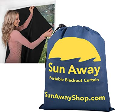 SUN AWAY Portable Blackout Curtain with Window Suction Cups - Easy Install Shade No Tools Required - Temporary Blinds Perfect