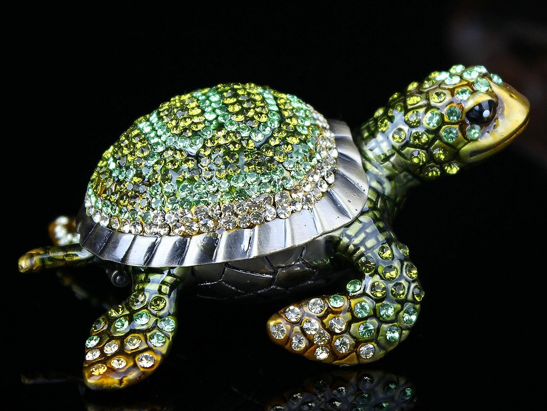 znewlook famous Shiny Branded goods Crystal Studded Tortoise Box Trinket Gre Jewelry