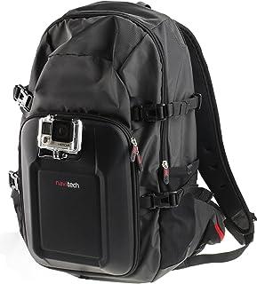 Navitech actionkamera ryggsäck med rött förvaringsfodral och integrerad bröstrem kompatibel med FITFORT actionkamera 4K Wi...
