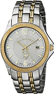 U.S. Polo Assn. Men's Quartz Watch, Analog Display and Gold Plated Strap USC80001