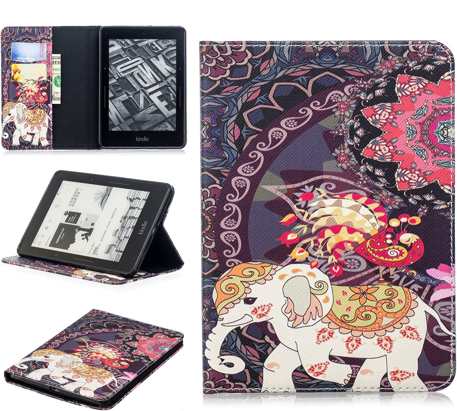 UUcovers Amazon Voyage E-Reader Case (2014), AUTO Wake/Sleep Thinnest Lightweight PU Leather Stand Smart Wallet Case with Cards/Cash Holder, Elephant Featured Thailand Style
