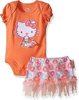 Baby Girls' Bodysuit, Tutu Skirt and Bib Set with Flower Print