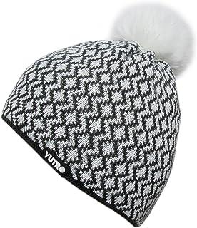 YUTRO Women's Wool Thinsulate Fleece Lined Ski Beanie Winter Hat with Rabbit Pom