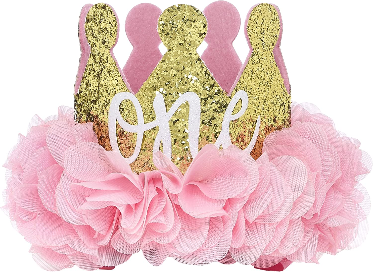 PoshPeanut Baby Crown Princess  One  Tiara First Birthday Hat Sparkle Flower Design Pink and gold