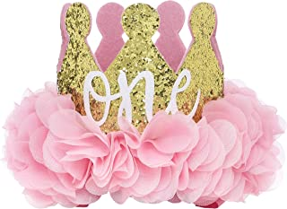 Posh Peanut First Birthday Hat ONE Cute Baby Crown Princess Tiara Sparkle Gold Pink Flower Design
