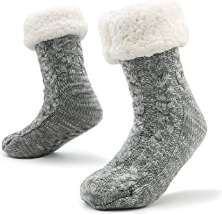 Mens Slipper Socks Bed Socks for Men with Sherpa Wool Non Slip