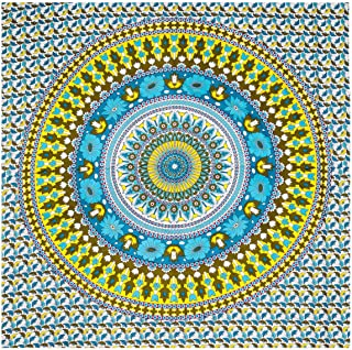 Nidhi Yellow and Blue Queen مقاس Mandala Tapestry, Wall Hanging, Picnic Blanket, Beach Mat, Bedcover, sofa throw, ستائر, أ...