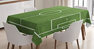 Ambesonne Teen Room Tablecloth, Soccer Field Grass Motif Stadium Game Match Winner Champion Sports Area, Dining Room Kitchen Rectangular Table Cover, 52