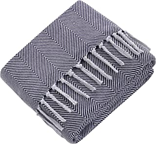 Mixibaby Vändbart överkast soffa filt mörkblå fiskbensmönster design