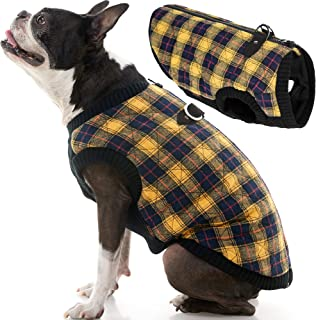 Gooby - Fashion Vest, Small Dog Sweater Bomber Jacket Coat with Stretchable Chest, Yellow Check, X-Small
