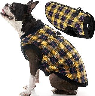 سترة عصرية من Gooby - معطف بسترة صغيرة للكلاب مع صدر قابل للتمدد، مربعات صفراء، مقاس XS