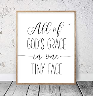 456Yedda All of God's Grace in One Tiny Face Nursery Printable Wall Art Kids Room Decor Christian Gifts Girls Room Decor Nursery Wood Pallet Design Wall Art Sign Plaque with Frame Wooden Sign
