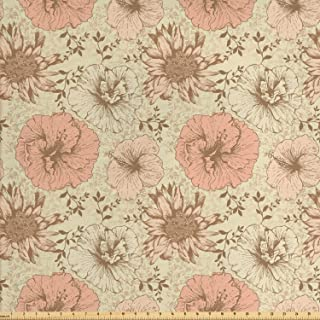 Lunarable Floral Fabric by The Yard, Retro Pattern on Nostalgic Background Soft Color Vintage Nature Design Print, Decorative Fabric for Upholstery and Home Accents, 1 Yard, Brown Cream