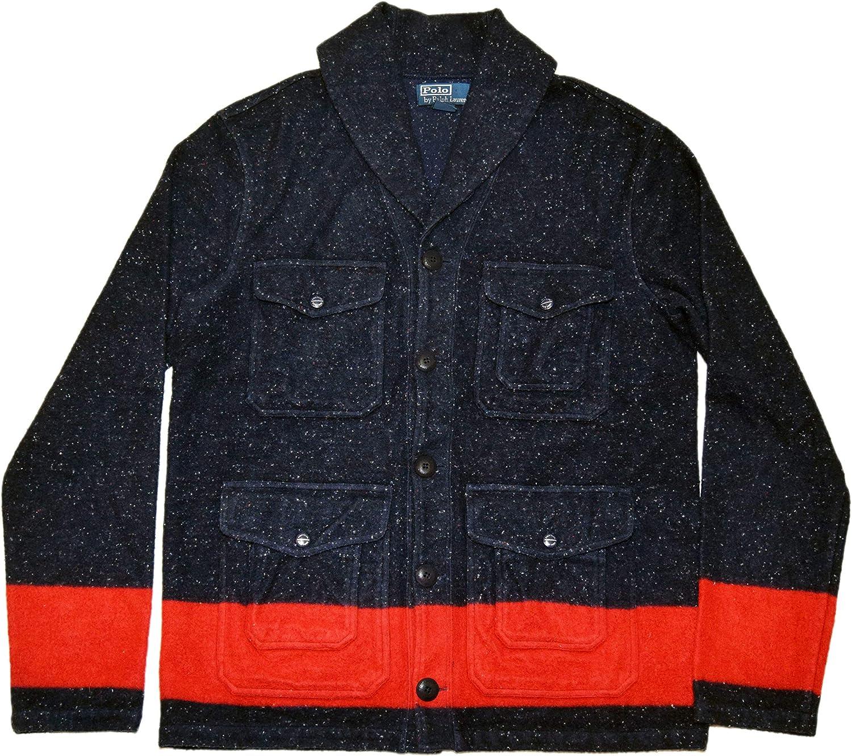 Polo Ralph Lauren Regular store Mens Cotton Shawl Jacket Strip Navy Cargo Coat Manufacturer regenerated product