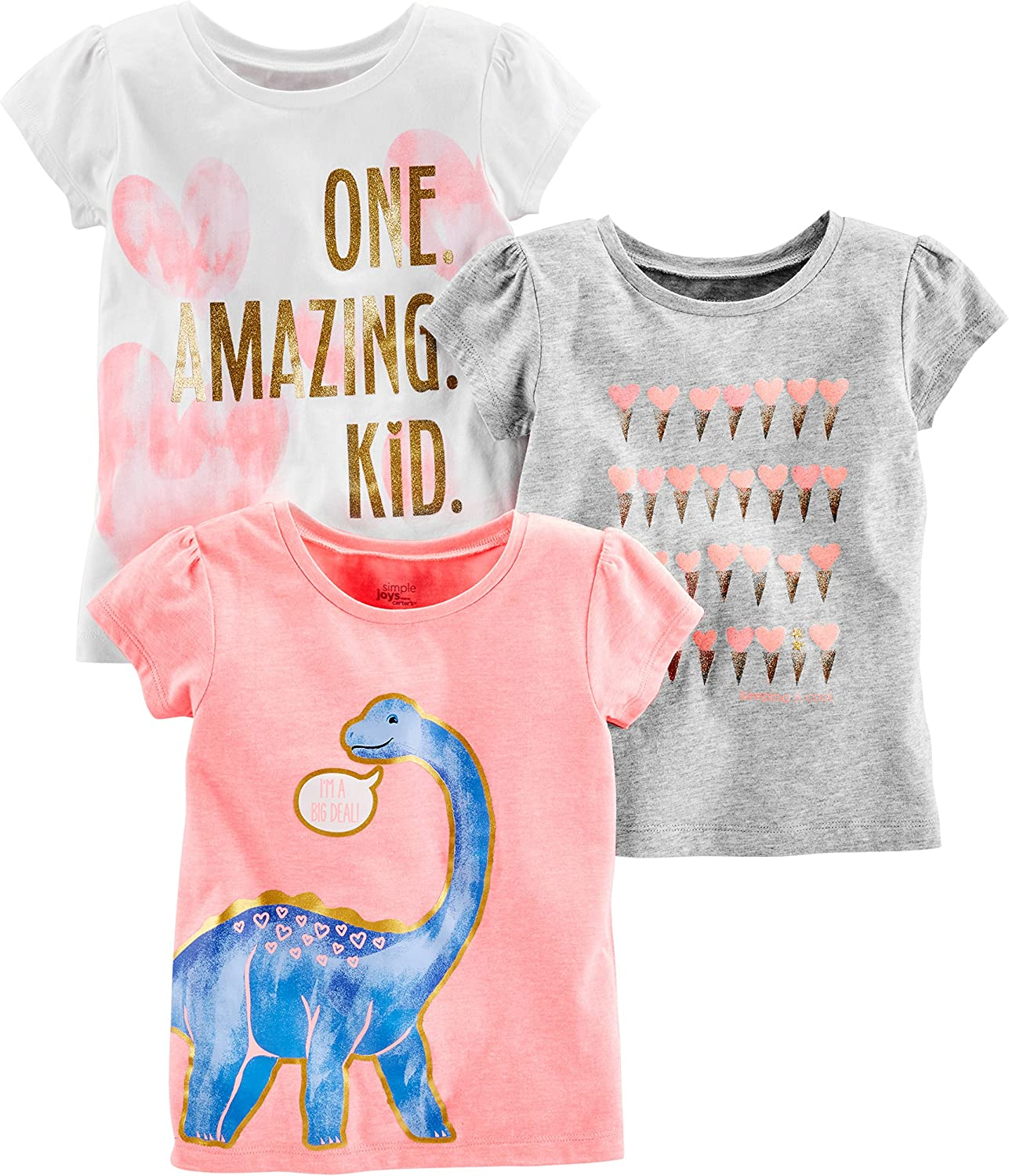 Simple Joys by Carter's Girls' 3-Pack Short-Sleeve Graphic Tees