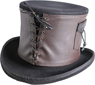 Arsimus 100% Wool Steampunk Top Hat with Brown PU Leather Band and Lace-Up Detail