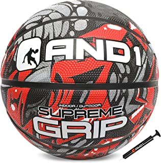"AND1 Supreme Grip Rubber Basketball & Pump Bundle- Official Size 7 (29.5"") Streetball, Made for Indoor and Outdoor Basketball Games"
