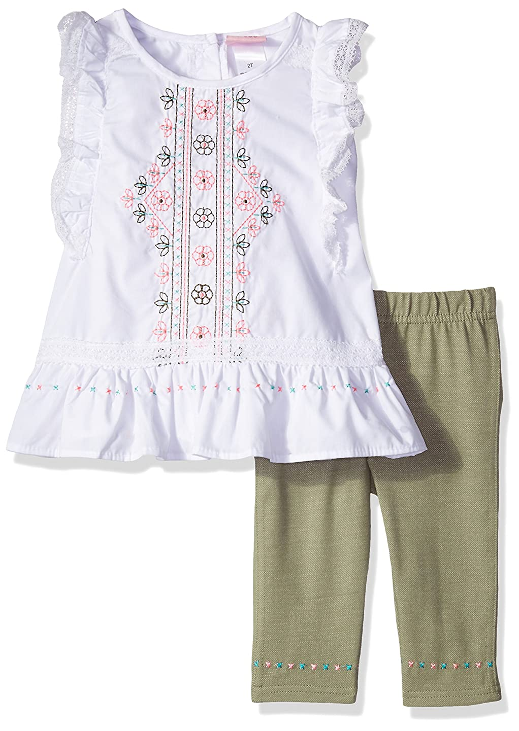 Nannette Girls' 2 Piece Set with Embroidered Top with Crotchet Trim and Solid Legging