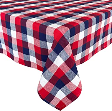 Newbridge American Rustic Red, White and Blue Plaid Cotton Weave Fabric Tablecloth, Indoor Outdoor Country Rustic Patriotic W