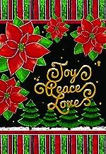 Lantern Hill Joy Peace Love Poinsettias Christmas Garden Flag; Double Sided; 12.5 x 18 inches; Winter Holiday Seasonal Decorative Banner