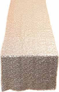 N&Y HOME Champagne Gold Sequin Table Runner 12x72 inch, Glitter Sequin Runner for Wedding, Birthday, Party, Baby Shower Decorations, Celebrations and Events