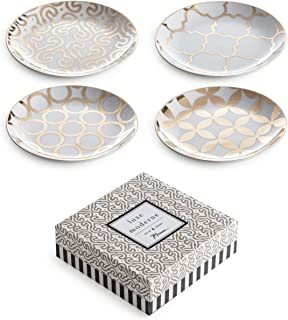 Rosanna 94937 Luxe Moderne Appetizer Plates, White/Gold, Set of 4