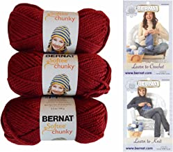 Bernat Softee Chunky Yarn Bundle Super Bulky #6, 3 Skeins, Wine