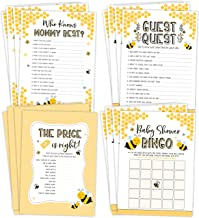 Mom To Bee Baby Shower Games, Neutral Yellow Bingo, Find The Guest, The Price Is Right, Who Knows Mommy Best, 25 games each