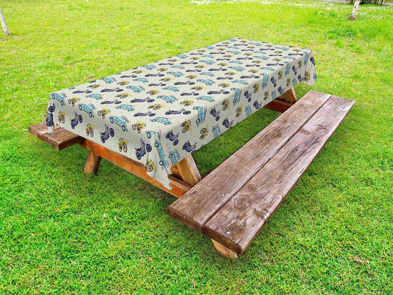 Ambesonne Hawaiian Outdoor Tablecloth Sur 40% OFF Cheap Sale Retro Illustration Sacramento Mall of
