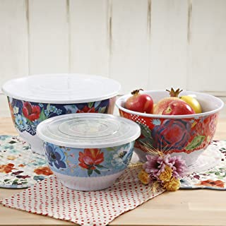 Pioneer Woman Melamine Serving Bowl Set with Lids (Set of 3 Bowls with 3 Lids) (Spring Bouquet)