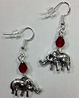 Elephant Earrings with Red Crystal Accent Beads, perfect for the Delta Sigma Theta sorority or an Alabama fan, on Sterling...