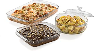 Libbey Baker's Basics 3-Piece Glass Casserole Baking Dish Set with 1 Cover