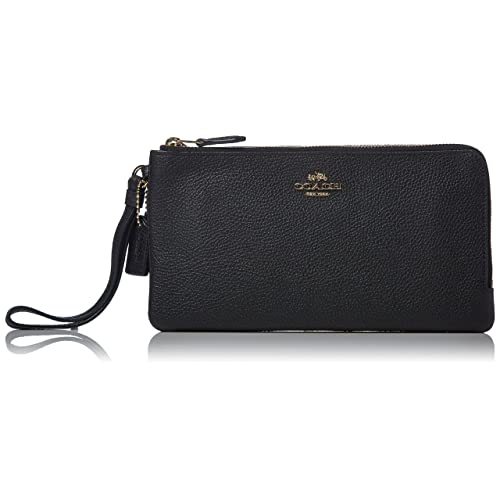 COACH Womens Polished Pebbled Double Zip Wallet c03a74f23f055