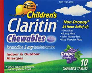 LARITIN Children's Allergy Chewable Tablets Grape Flavored 10 Tablets (Pack of 3)