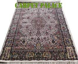Carpet Palace New Creation Iranian High Range Very High Quality Handknotted Export Quality Kashmiri Design Pure Imported Semi Worsted Wool Carpets Your Living Room 4X6 FT (120x240cm) Color Ivory