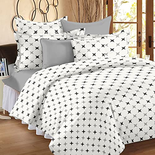 Ahmedabad Cotton Comfort 160 TC Cotton Bedsheet with 2 Pillow Covers - Geometric, King Size, Grey