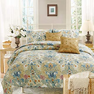 Sponsored Ad - Cozy Line Home Fashions Luxury Classic Bedding Quilt Set, 100% Cotton Beige Blue Floral Pink Flower Bohemia...