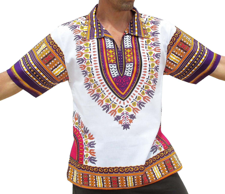 Raan Pah Muang Brand European Collar Short Sleeve Shirt African White Dashiki Art