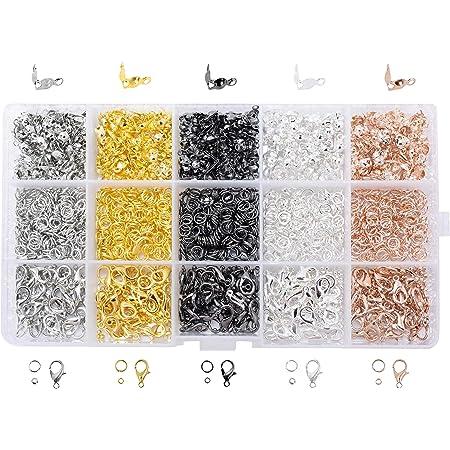 UNICRAFTALE 300 Pieza 2 Colores Puntas de Abalorios de Acero Inoxidable Extremos de Calota Cubiertas Abiertas para Nudos Color Dorado Y Acero Inoxidable 1 mm Tapas Extremo Orificio Peque/ño 4x2 mm