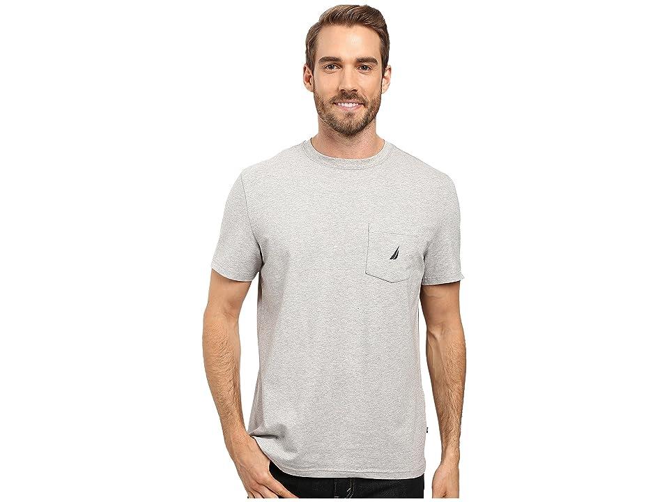 Nautica Short Sleeve Solid Anchor Pocket Tee (Grey Heather) Men
