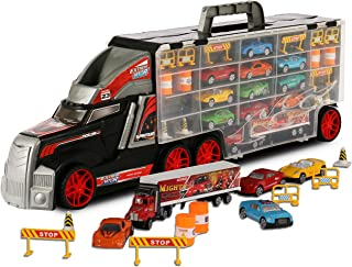 ToyThrill Super Transport Truck Carrier Toy - Plastic Transporter/Case - Includes 10 Die-Cast Mini Cars, Mini Semi-Truck, 16 Assorted Road Block Accessories - Holds Over 40 Cars