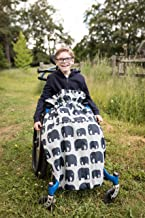 100% Waterproof Fleece-Lined Wheelchair Cozy Wheelchair Blanket | Universal fit for wheelchairs and Special Needs Buggies | Child Size (Gray Elephant)